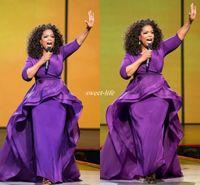 ünlü zarif önlükler toptan satış-Zarif Oprah Winfrey Ünlü Abiye giyim Overskirt Orta Doğu Dubai Arapça Stil Mor Kollu Artı Boyutu ile Kadın Resmi Giyim 2019