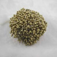 Wholesale Golden Flowers Decorations - ake decorating shapes Free shipping wholesale golden color 3mm pearl flower stamen floral stamen cake decoration for DIY(1800pcs lot)0010...