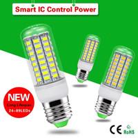 Wholesale lumen led bulbs - 220V 110V LED Lamp E27 SMD5730 LED Corn Light Lampada LED Bulb High Lumen 24 36 48 56 69 81 89LEDs Chandelier Lights
