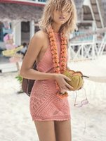 Wholesale Solid Coverups - Sexy cover up crochet hollow out pink halter strap swimwear coverups