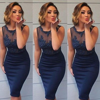 Wholesale Silk Navy Blue Dresses - Sexy Sheath Column Cocktail Dresses Sheer Crew Neck Sleeveless See Through Lace Appliqued Top Short Knee Length Prom Party Gowns Custom Made