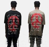 Wholesale Designer Men S T Shirt - World Peace Freedom Print Short Sleeve T shirt Harajuku Hipster KhakiBlack Hip Hop Urban Oversized Designer Graphic Tee Kpop shirts for men