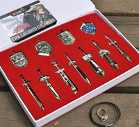 Wholesale Sword Set Wholesale - 12 Pcs Set The Legend of Zelda Weapon Sets Link Swords 6-8 Cm Metal Key Ring Necklace Pendant Xmas Gift Freeship