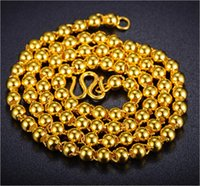 Wholesale Solid Gold Jewelry Wholesalers - Wholesale Top quality Classical Jewelry WOMAN   MENS 24K GOLD SOLID BEAD NECKLACE 6MM-10MM WIDE FASHION LINK CHAIN