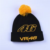 Wholesale 46 Cap - High Quality Rossi 46 Embroidery Men Women Winter Skullies Hat Motorcycle Racing Winter VR46 Sport Warm Hat Beanies Gold