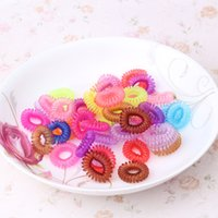 Wholesale Silicone Hair Scrunchies - Wholesale- 12pcs lot Colorful Telephone Wire Line Girls Hair Accessories Elastic Ponytail Holders Ring Silicone scrunchy gum Hair Band