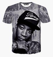 Wholesale Men V Neck Tshirts - 2016New fashion men women 3D t shirt printed character portrait Wiz Khalifa Hip Hop rock singer punk tshirts summer tees clothes