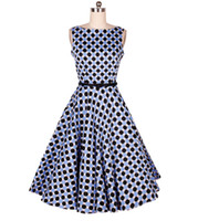 Wholesale Blue Swing Prom Dress - New Dress Retro Hepburn Style 1950'S Polka Dot Swing Evening Pinup Prom Rockabilly Vintage Dress 0601