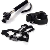Wholesale Gopro Adapters - Sj5000 Sj4000 Gopro Accessories 3 in 1 Kit Head Chest Strap Mount Monopod with Adapter for Go Pro Hero 1 2 3 4 Black Editon