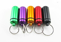 Wholesale First Medicine - Outdoor Portable Medicine Box First Aid Small Gallipot Cartridge Pill Box High Quality Aluminum Alloy Pill Cases With Keychain
