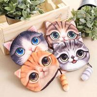 ingrosso borsa mini viso cartoon-Nuova borsa della chiusura lampo del fumetto di modo della faccia dei gatti di stampa 3D delle grandi signore della borsa della moneta dei gatti di 4 stili per i bambini