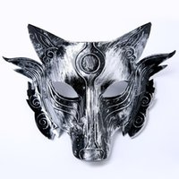 Wholesale Wolf Half Face Mask - Halloween Animal Performing Bar Horror Mask Men Wolf Masked Masquerade Mask Party Mask Cosplay Props ZA4823