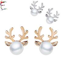 Wholesale Horn Earring Silver - Jewelry 24pairs lot silver gold deer horn antler pearl ball stud earring cartoon animal rhinestone tree earring woman jewelry