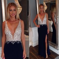 Wholesale Sexy Deep Front Top - Dark Navy 2016 Long Sexy Beaded Dress Thigh-High Slits Sheath Split Evening Dresses Plunging Deep V Neck Sleeveless Crystals Beads Top