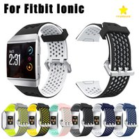 Wholesale ionic blue - For Fitbit Ionic Band Watchbands Lightweight Ventilate Silicone Perforated Accessory Sport Bands for Fitbit Ionic Dual Color Bands