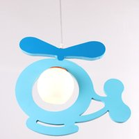 Wholesale Small Wooden Planes - Cartoon Wooden Airplane Children Light Cute Kids Room Small Plane Lamp Baby Room Bedroom Pendant Lights