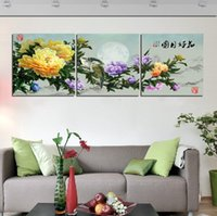 Wholesale Wall Paint Fish - Unframed 3 Pieces art picture Wall decoration Canvas Prints peony Bamboo fish tree house mountain waterfall butterfly Chrysanthemum flower