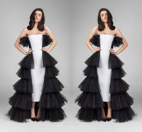 Wholesale pine silver - Sexy Black And White Pine Shape Evening Dresses Strapless Tulle Layers Tiered Prom Dresses High Low Formal Party Dresses For Women