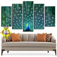 Wholesale Art Decor Peacock - 2016 Hot Sale Resim Tuval .5 Picture Combination Wall Art Blue Beautiful Peacock Painting The Print On Canvas Animal Pictures for Home Decor