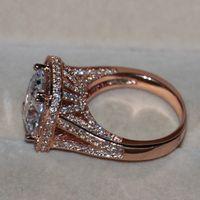 Wholesale Simulated Diamond Rose Gold - Victoria Wieck Luxury Jewelry 10ct topaz 192pcs Tiny CZ 925 sterling silver Rose Pave Simulated Diamond Wedding Band Women Ring Size 5-11