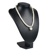 Elegante Schmuck Regal Display Halskette Büste Holz Schwarz Neck Form für Boutique Schaufenster Desktop Schmuck Displays Ketten Anhänger Ständer