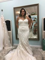 Wholesale Lace Wedding Dresses Open Back Strapless - 2018 Newest Sexy Mermaid Plus Size Beach Sweetheart Strapless Lace Women Long Sleeve Wedding Dresses Open Back Lace Wedding Gowns