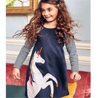 tasarımcı parti elbiseleri satışı toptan satış-Çocuklar Giysi Tasarımcısı Kızlar Unicorn Elbise Amerikan Sıcak Satış Bebek Kız Elbise Hayvanlar Aplike Çocuk Parti Elbise