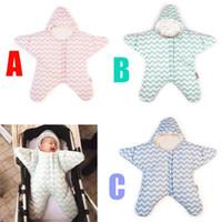 Wholesale Sleeping Bags Polar Fleece - Retail Newborn Baby Sleeping Bag Polar Fleece Winter Warm Sleepwear Infant Clothes Starfish Sleeping Bags Long-sleeved Romper for 0-12M