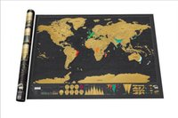 Wholesale New World Cover - Deluxe Scratch World Map 82.5x59.4cm Black Background Foil Cover With Delicate Cylinder Packaging Creative DIY Gift Education Learning Toys