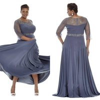 Wholesale Guest Orders - Plus Size Long Formal Mother's Dress Sheer Crew Neck Beaded Sequins Sheer Half Sleeves Made to Order Full Length Gowns Wedding Guest Wear