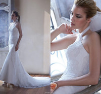 Wholesale Slim Fitting Mermaid Bridal Dresses - Gorgeous 2016 New Arrival Halter Wedding Dresses Sexy Slim Fitted Mermaid Lace Appliques Court Train Bridal Gown Custom Made
