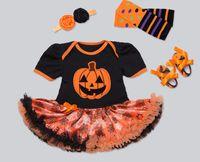 Wholesale Infant Orange Summer Dresses - New Baby Girl Halloween Clothes Infant pritned Tutu Romper Dress +Headband+Shoes+Leggings Infant 4pcs Set Jumpersuit Newborn Costumes A9572