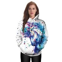 hoodie da cópia do unicórnio venda por atacado-2017 mulheres moletom com capuz outono inverno moda llover impressão digital camisola do punk hip hop / mulheres soltas cap Unicorn Camisolas para casal