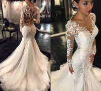 Wholesale Delicate Mermaid - 2017 New Delicate Lace Mermaid Wedding Dresses Dubai African Arabic Style Sheer Crew Neck Long Sleeves Button Illusion Back Bridal Gowns