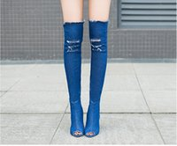 Wholesale Peep Toes Boots For Women - Womens Sexy Fashion 2017 New Peep Toe Stiletto High Heel Denim over The Knee High Boots for Party Wedding Dress