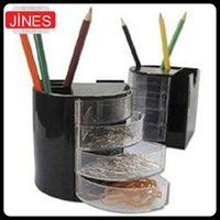 Wholesale Pencil Holder Organizer Office School Desk Black Pen Containers Cosmetic Plastic Pen Multifunction stationery