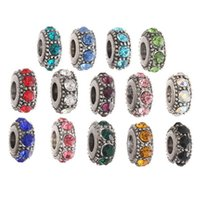 Wholesale European Beads Rhinestone Spacer Blue - Wholesale Mixed Colors Rhinestone Crystal Tibetan Silver European Big Hole Spacer Beads For Charms Bracelet XZ36