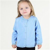 Wholesale Girls Cardigan Retail - Retail Baby Clothes Candy Color Baby Girls Sweater Cardigan Autumn Long Sleeve Cotton Baby Sweater Coat Little Girls Clothing