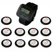 Wholesale Restaurant Pagers - SINGCALL. Wireless restaurant calling systems, for waiter, coffee shop, restaurant, 10 one-button pagers and 1 Receiver