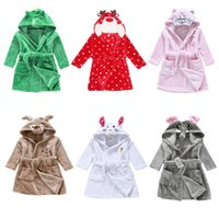Wholesale Children Bathrobes Wholesale - 8styles Children Cartoon animal Hoodie Coral Fleece Bathrobe Unisex Kids cute animal Robe Pajamas Sleepwear Flannel Night-gown Fall Winter
