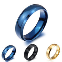 azul negro oro relleno anillos de acero de titanio para los hombres y las mujeres de