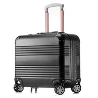 Wholesale Trolley Luggage Bags Brands - Wholesale-Brand New18 inch Women Bording Luggage Carry On School Bags Suitcase Magal Trolley Bags Metalic Aluminium Draw Bar Box Spinner