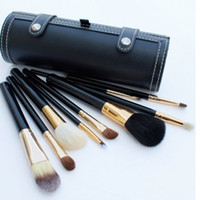 Wholesale Wholesale Professional Makeup Brush Holder - 9 Pcs Makeup Brushes Set Kit Travel Beauty Professional Wood Handle Foundation Lips Cosmetics Makeup Brush with Holder Cup Case