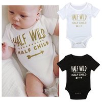Wholesale Ins Baby Boys and Girls Short Rompers Summer Infant Letters Printed One piece Jumpsuits Kids Pullover Rompers