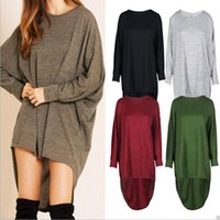 Wholesale Sexy Bat Sleeve - T Shirts Women Bat Baggy Shirts Long Sleeve Irregular Tops Fashion Loose Blouse Casual Sexy Blusas Round Collar Tees Women's Clothing B3570