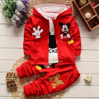 Wholesale Shirts For Boys Jacket - Mickey Set Clothing For Baby Boy Girl Costume Fashion Minnie Mouse Hooded Jacket Coat+T Shirt+Trouser 3 Piece Suit For Children Costume