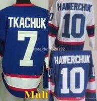 Wholesale Vintage Hockey Jerseys China - 2016 Wholesale for Winnipeg CCM Hockey jerseys #7 Tkachuk #10 Hawerchuk Jersey NAVY blue white nhl CCM Vintage throwback Cheap china