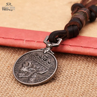Wholesale 14k Gold Coin Pendant - Wholesale- Handmade Antique Silver Coins Skull Pendant Real Leather Necklace for Men Brown Chains Punk Jewelry