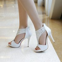 Wholesale Cloth Heels Wholesale - LW shoes 2016 New fashion color diamond fabric. Fashion round water table high heeled sandals Dichotomanthes bottom side