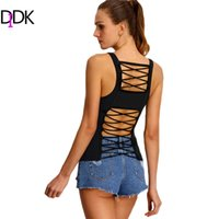 Atacado-Nova Chegada Online Shop Vestuário Verão Casuais Tops Vogue Womens Sexy Strapless Plain Strap Ribbed Lattice-Back Tank Top